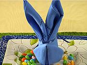 Ubrousek ve tvaru zajíčka - Jak poskladat ubrousek do tvaru zajíčka