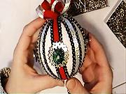 Vianočné gule - Vianočná guľa červeno-strieborná