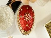 Červeno-zlaté velikonoční vajíčko
