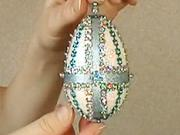 Modro-sříbrné velikonoční vejce