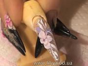 Zdobenie nechtov-zimný kvet