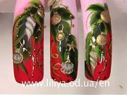 Gelové nechty - vianočný stromček