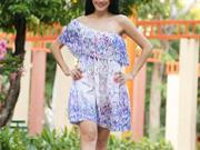 Letné šaty na jedno ramienko