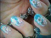 Gelové nechty - nechty  s letnými kvetmi