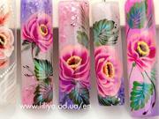 Gelové nechty - ružové kvety
