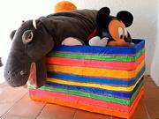 Krabica na hračky - Ako prerobiť kartonovu krabicu na zaujímavy box na hračky