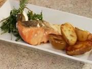 Grilovaný losos na olivovom oleji - recept  na grilovaného lososa so zemiakmi