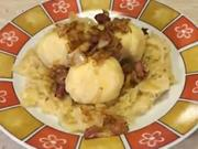 Masové kuličky - recept na masové kuličky v bramborovém cestě na dušené kapuste  se slaninou