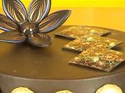 Čokoládové kocky na torte - výzdoba torty technikou