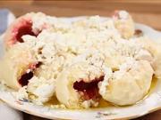 Tvarohovo - jahodové gulky - recept na kysnuté jahodové gule s tvarohom - Tvarohove knedličky
