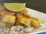 Grilované krevety na mede  - recept na grilované krevety s ananásom a ryžou