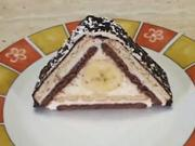 Střecha z BeBe sušenek - recept na tvarohovo-banánové kostky s rumem