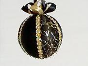 Čierna saténová vianočná guľa
