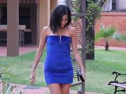Krátke modré šaty so zipsom