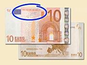 10 EUR - Ako rozpoznať ochranné prvky 10 €  bankoviek