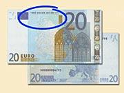 20 EUR - Ako rozpoznať ochranné prvky 20 € bankoviek