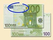 100 EUR - Ako rozpoznať ochranné prvky 100 € bankoviek