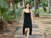 Černo - růžové asymetrické šaty