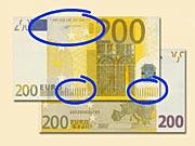 200 EUR - Ako rozpoznať ochranné prvky 200 € eurobankoviek