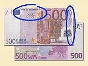 500 EUR - Jak rozeznat ochranné prvky  500 €  eurobankovek