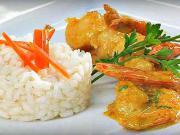 Vyprážané krevety s kari a kokosom - recept