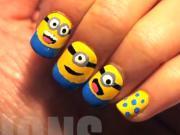 Mimions na nechtoch - Minions postavičky na nechtoch - Ako nalakovať Mimoň postavičku na nechty