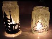 Svietnik z fľaše na zaváraniny - zimný motív