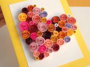 Srdíčková pohlednice - quilling pro začátečníky - valentýnská pohlednice