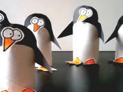 Tučniak z toaletnej papierovej rolky - ako vyrobiť tučniaka z papiera
