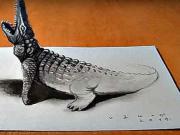 3D Krokodíl - ako nakresliť 3D krokodíla - 3D kreslenie
