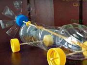 Mini auto z plastovej fľaše na gumičkový pohon - ako si vyrobiť auto na gumičkový pohon - DIY
