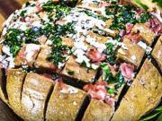 Chlieb zapečený so šunkou a syrom - recept