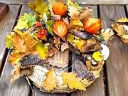 Jesenný veniec z lístia - jesenné dekorácie