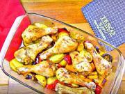Pečené kuracie stehná na zemiakoch a zelenine - recept