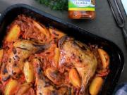 Pečené kuracie stehná so zeleninovou zmesou - recept