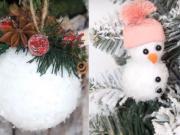 3 DIY návod na zasnežené vianočné ozdoby