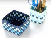 Návod na pletený košík z papiera